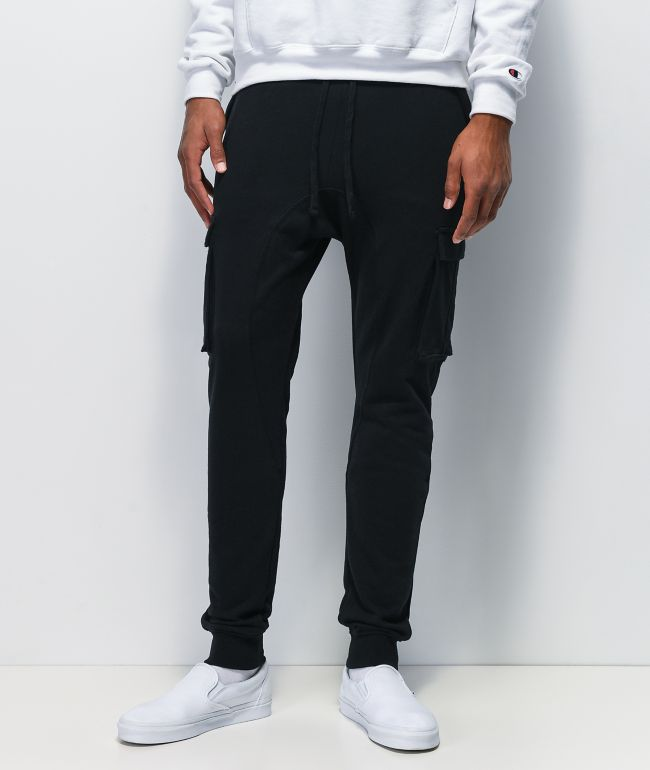 Zine Cargo Black Jogger Sweatpants