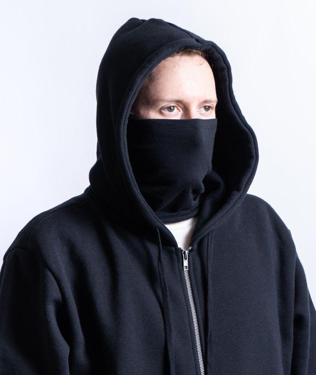 Zine Safety sudadera con capucha negra con cremallera