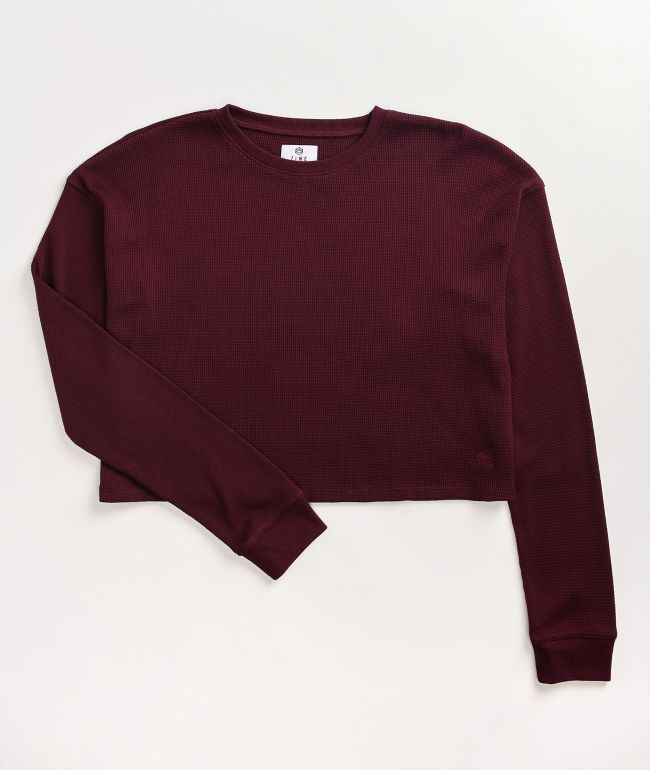 Zine Samson Burgundy Long Sleeve Thermal Crop Top