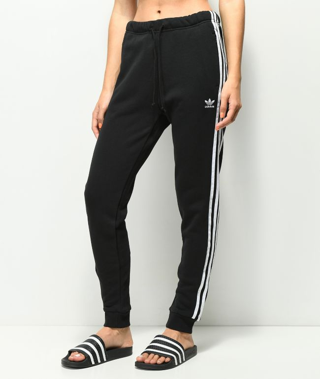 adidas 3 Stripe Cuffed Black & White Track Pants