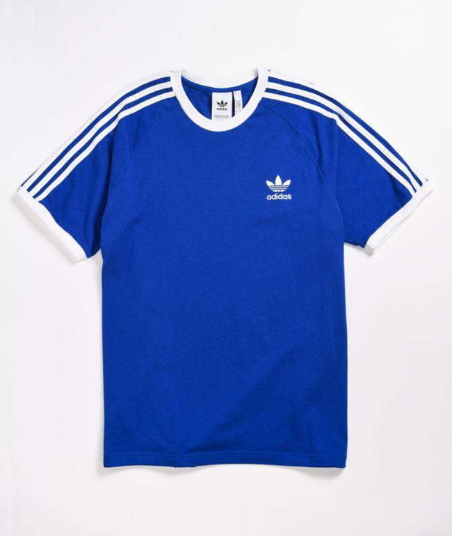 adidas 3 Stripe Royal Blue T-Shirt