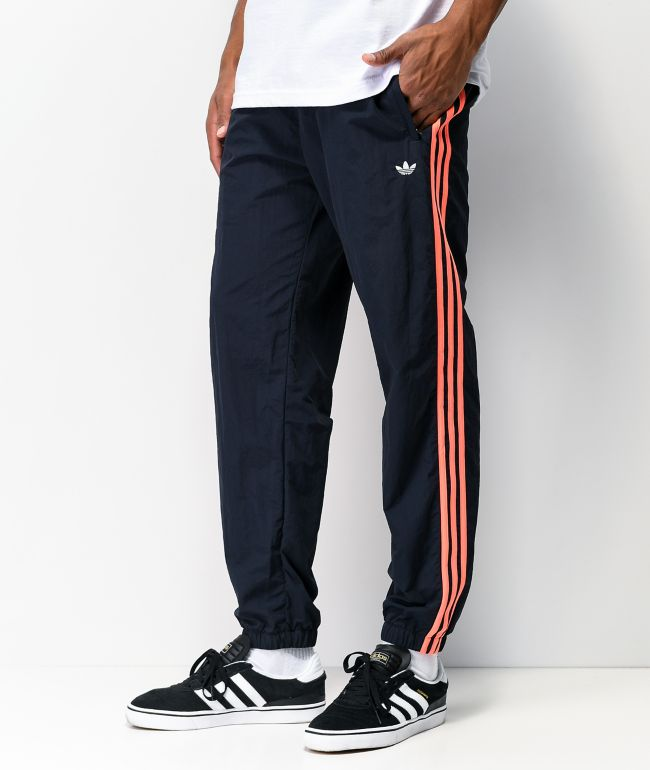 adidas 3 Stripe WP Legend Ink Navy & Coral Track Pants