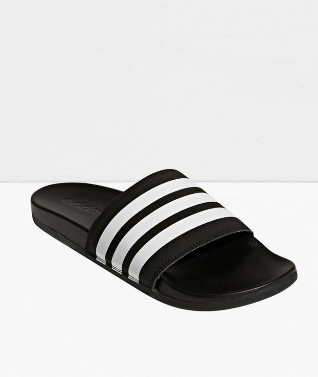 adidas Adilette Comfort Black & White Slide Sandals