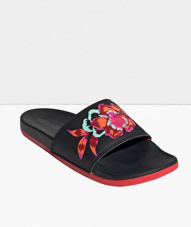adidas Adilette Comfort Floral Black & Red Slide Sandals