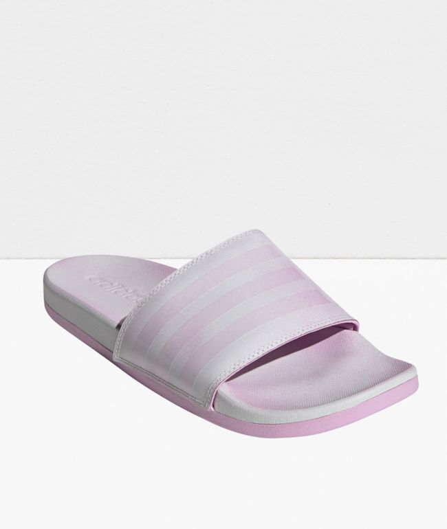 adidas Adilette Comfort White & Pink Slide Sandals