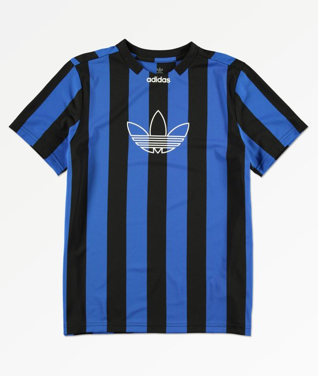 adidas Boys Black & Blue Stripes Jersey
