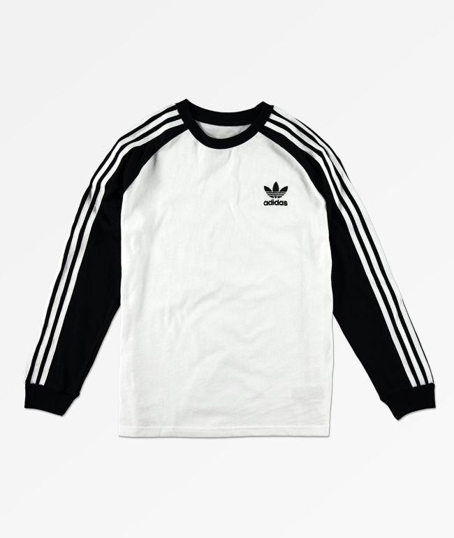 adidas Boys Trefoil White & Black Long Sleeve T-Shirt