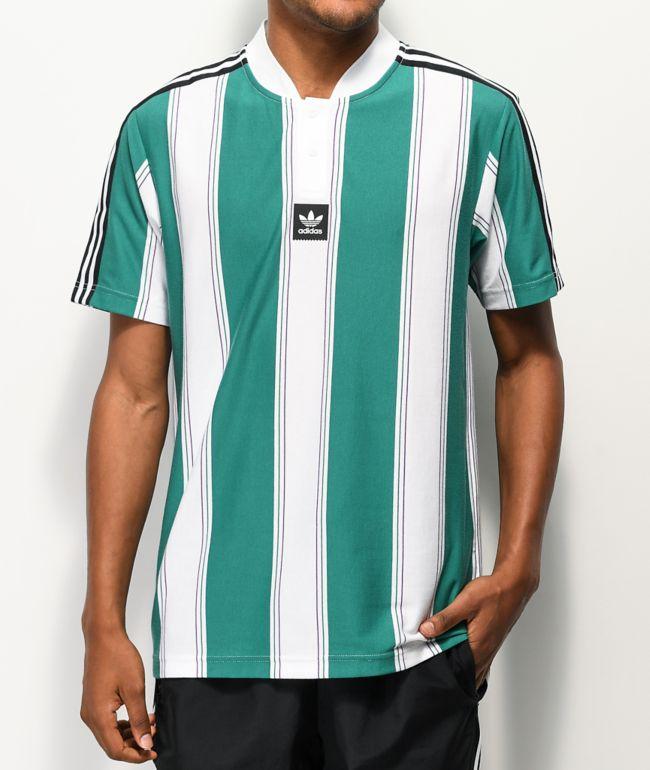adidas Clatsop Green & White Striped Jersey
