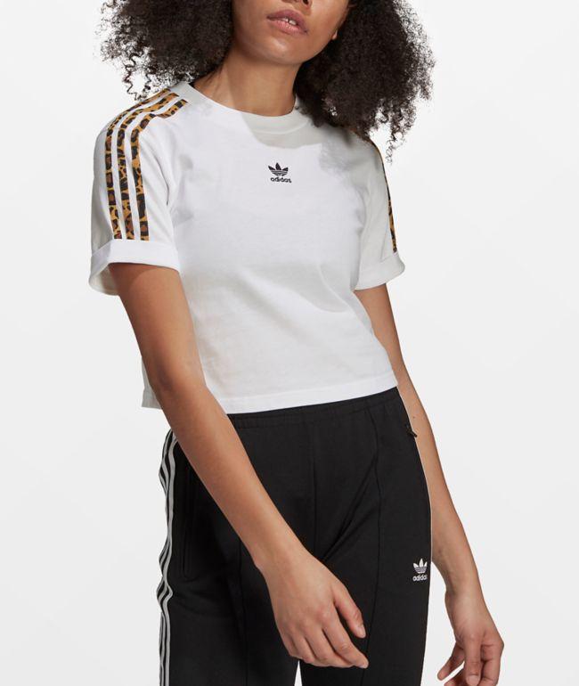 adidas Leopard Print & White Crop T-Shirt