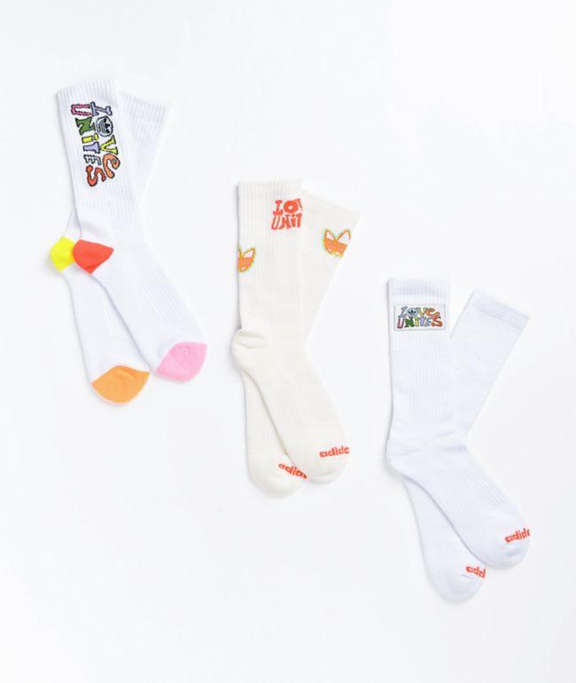 adidas Love Unites 3 Pack Crew Socks