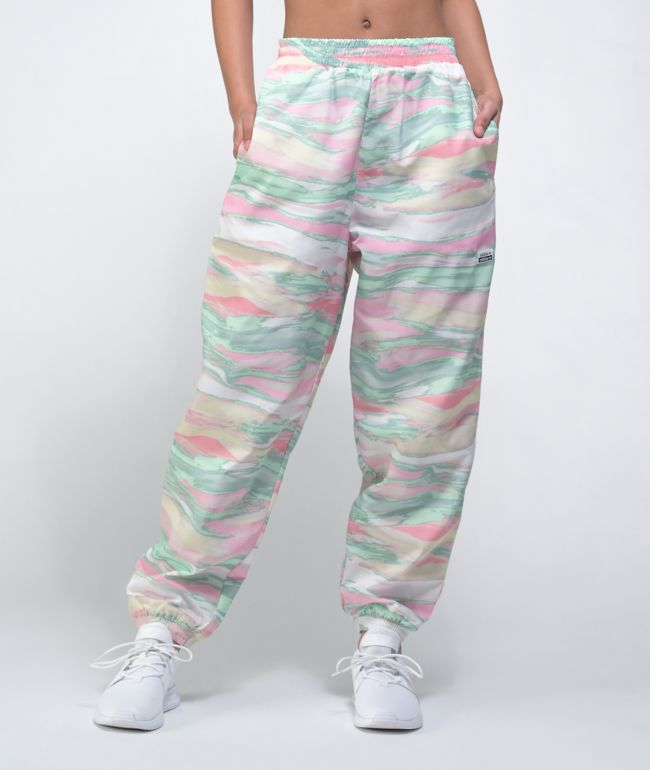 adidas Multi Color Pink, Green & Cream Marble Dye Track Pants