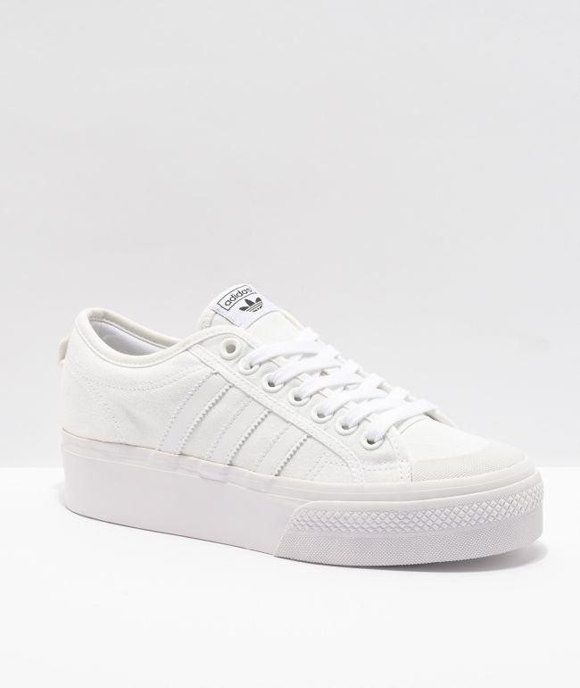 adidas Nizza White Platform Shoes