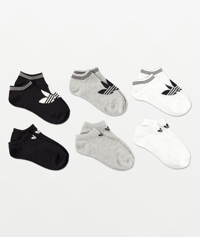 adidas Originals Trefoil paquete de 6 calcetines invisibles blancos, grises y negros