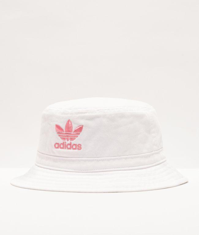adidas Originals Washed White & Pink Bucket Hat