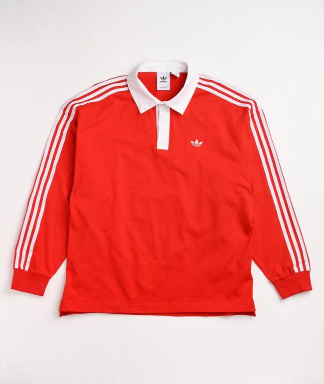 adidas Red & White Long Sleeve Polo Shirt