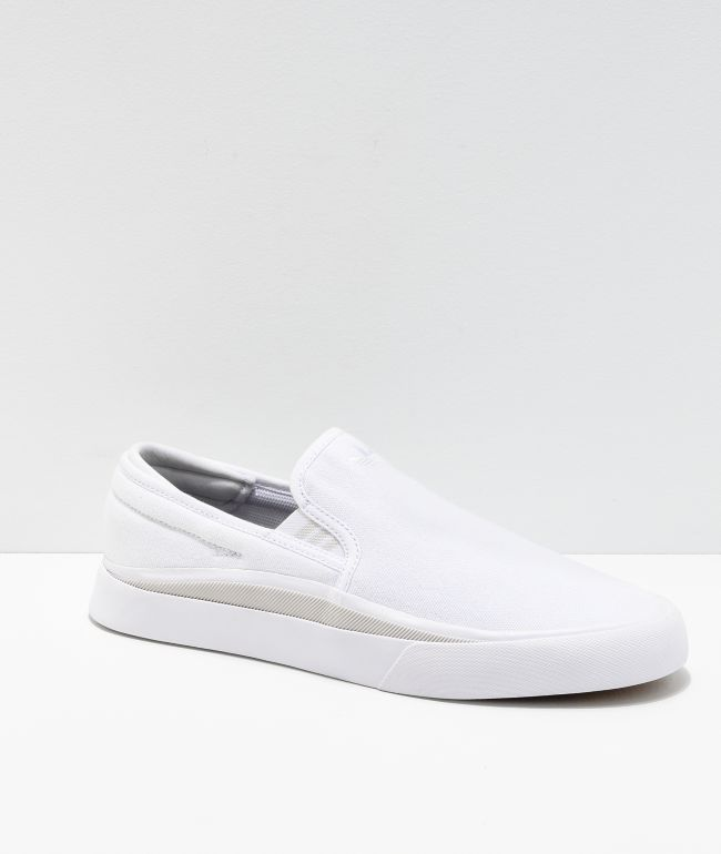 slip on white canvas sneakers
