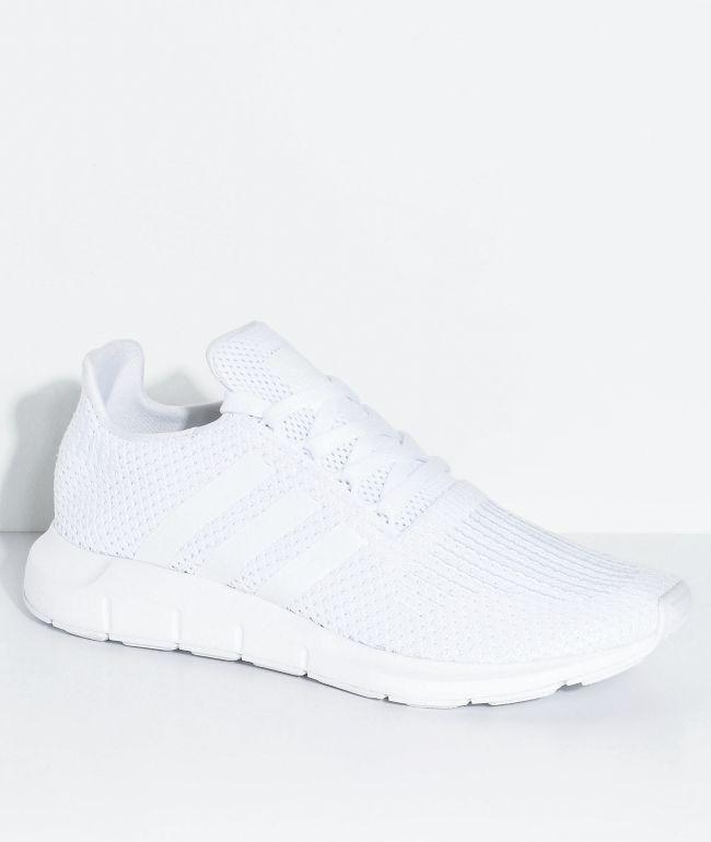 adidas Swift Run All White Shoes | Zumiez