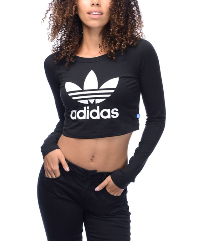 adidas Trefoil Crop Fitted Long Sleeve