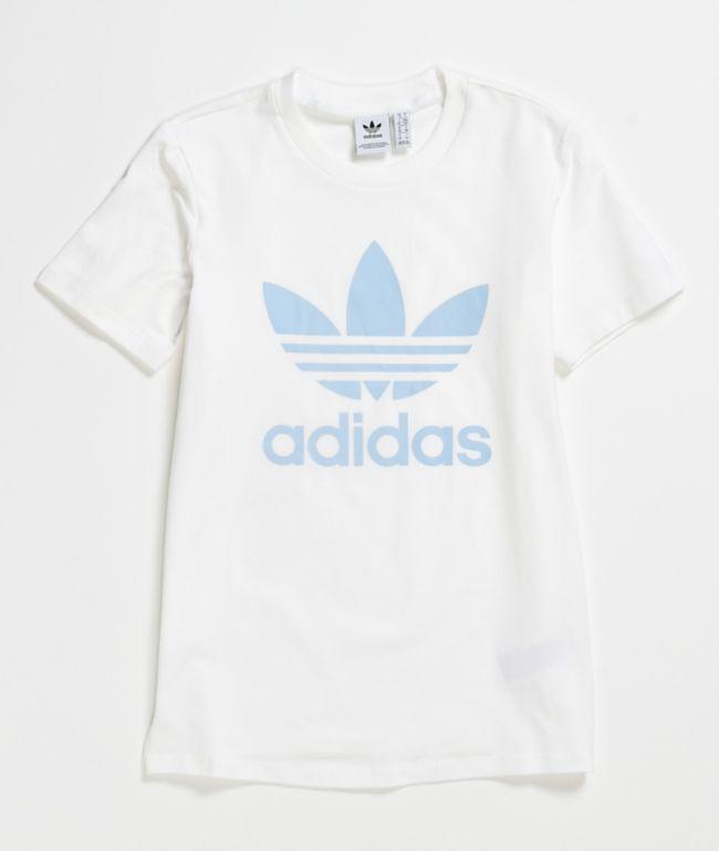 no usado coro Fecha roja  adidas Trefoil camiseta blanca y azul | Zumiez