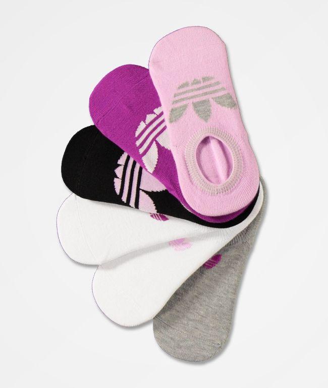 adidas Trefoil paquete de 6 calcetines invisibles morados y rosas