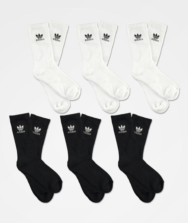 Elevado Incidente, evento Arqueológico  adidas Trefoil paquete de 6 calcetines negros y blancos para niños   Zumiez