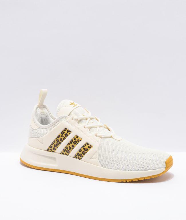 adidas X_PLR J Off White & Cheetah Print Shoes