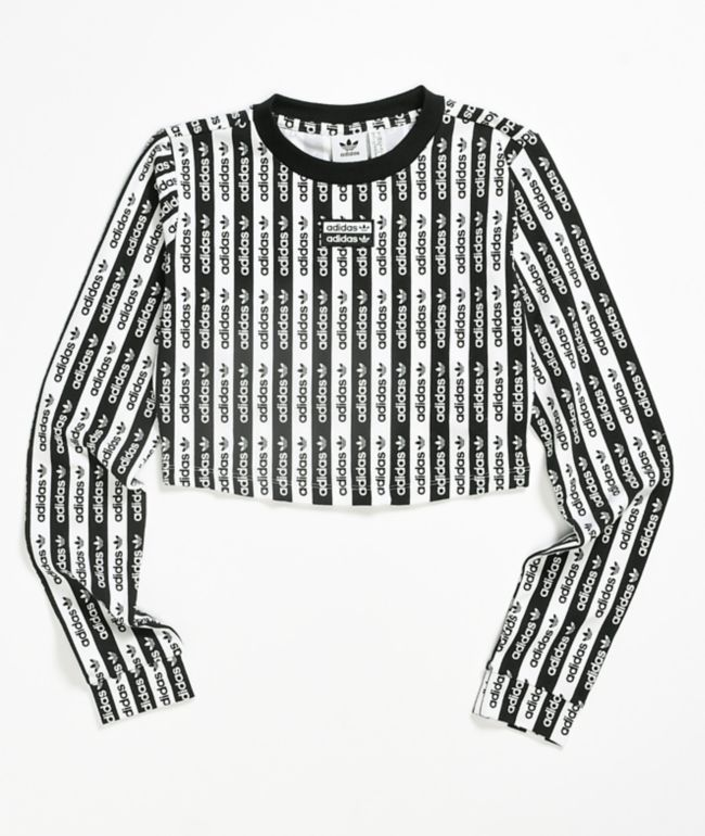 Shetland escucha perder  adidas camiseta corta de manga larga blanca y negra | Zumiez