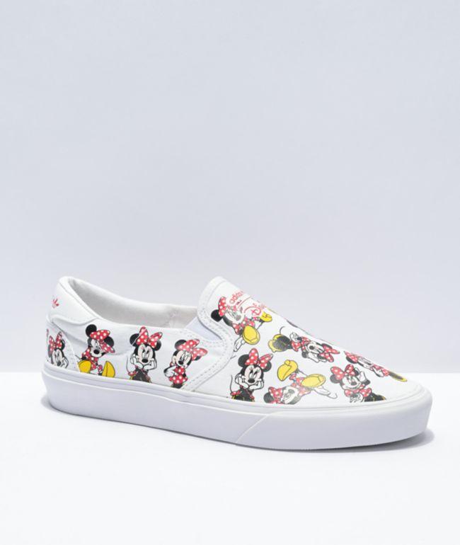 adidas x Disney Court Rally Minnie Mouse White Slip-On Shoes