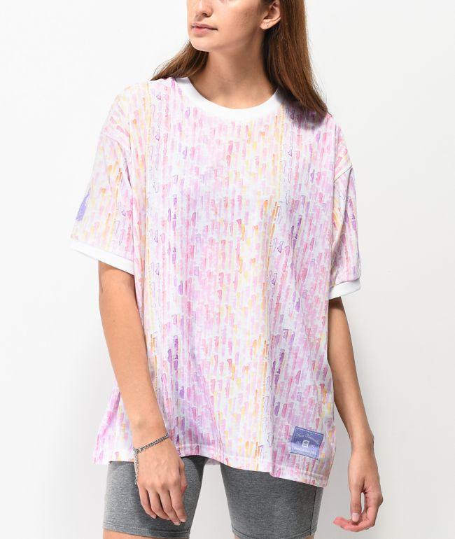 adidas x Nora Watercolor camiseta blanca y rosa