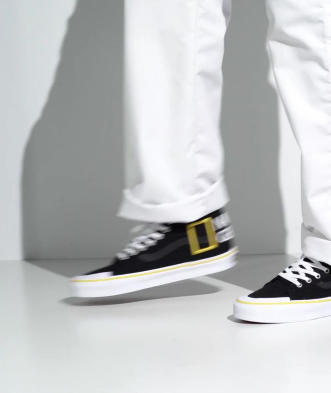 Vans x National Geographic Sk8-Hi Reissue 138 Logo Black & Yellow Skate Shoes