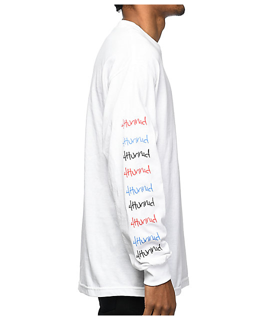 4 Hunnid Logo White Long Sleeve T-Shirt