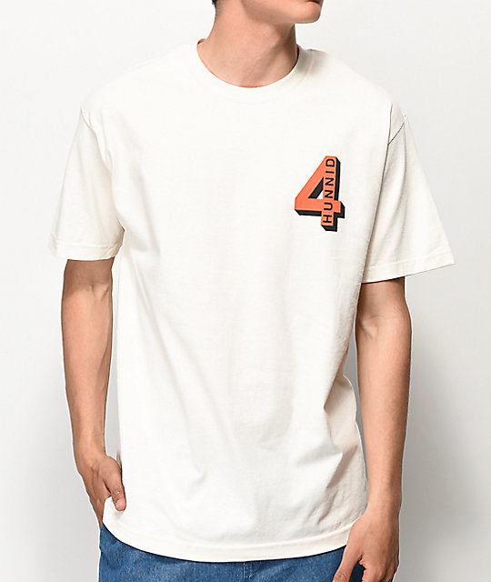 4 Hunnid Shadow Logo Tan T-Shirt
