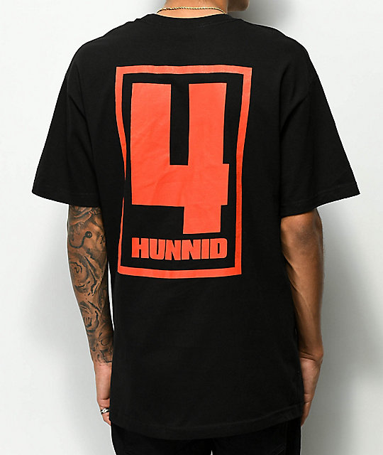 4 Hunnid Square Logo Black T-Shirt