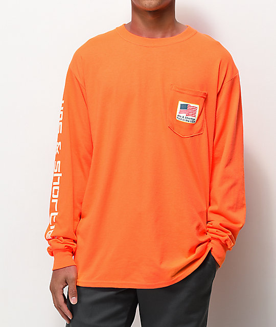 40's & Shorties Paid In The USA Orange Long Sleeve T-Shirt