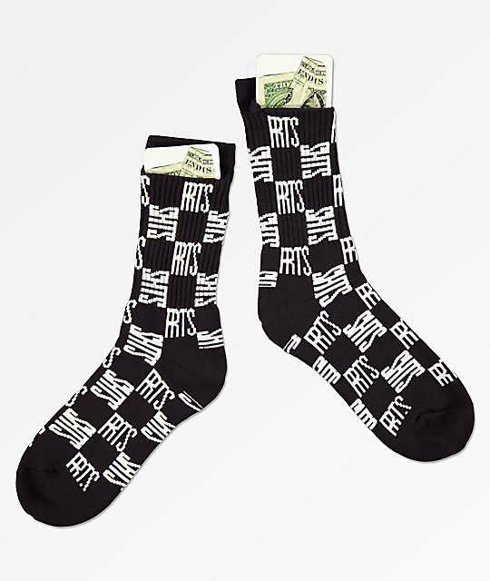 40s & Shorties Checkerboard Stash Black Crew Socks