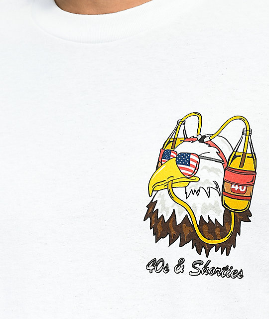 40s & Shorties Eagle Beer Helmet White T-Shirt