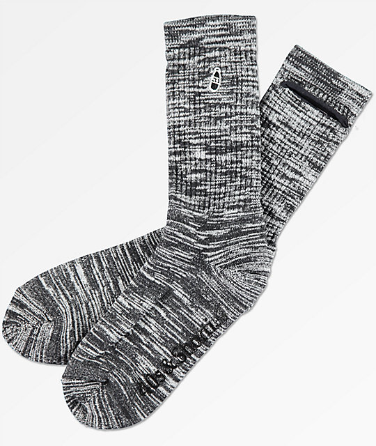 40s & Shorties Speckle Pocket Black Crew Socks