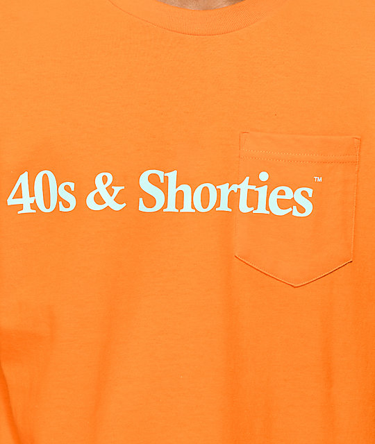 40s & Shorties Text Logo Orange Pocket T-Shirt