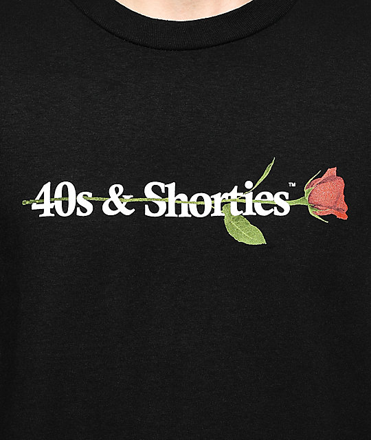 40s & Shorties 40s Text Logo Rose camiseta negra