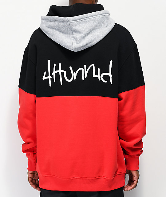 4 Hunnid Big Block Black, Red &Amp; Grey Hoodie by 4 Hunnid