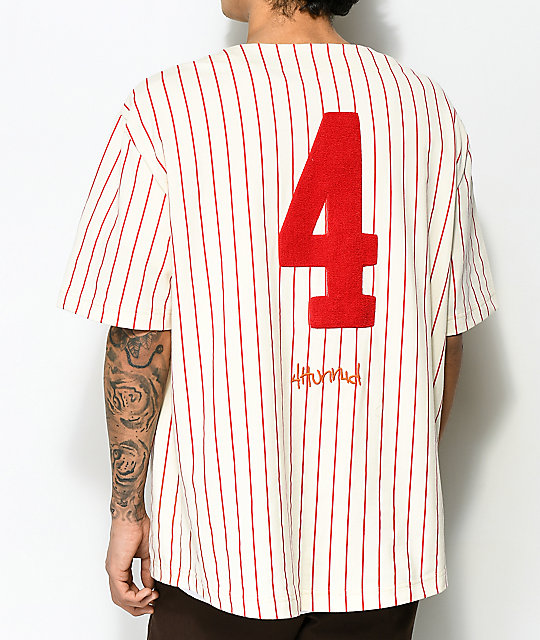 4Hunnid Cream & Red Pinstripe Baseball Jersey