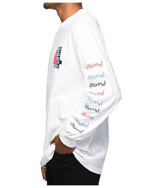 4Hunnid Logo White Long Sleeve T-Shirt