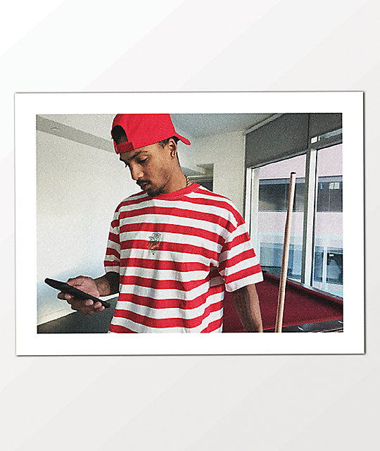 4Hunnid Rose Red & White Stripe T-Shirt