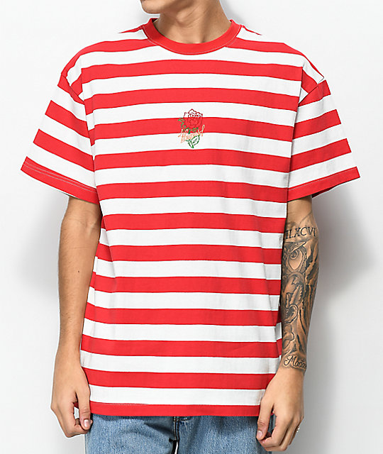 4 Hunnid Rose Red &Amp; White Stripe T Shirt by 4 Hunnid