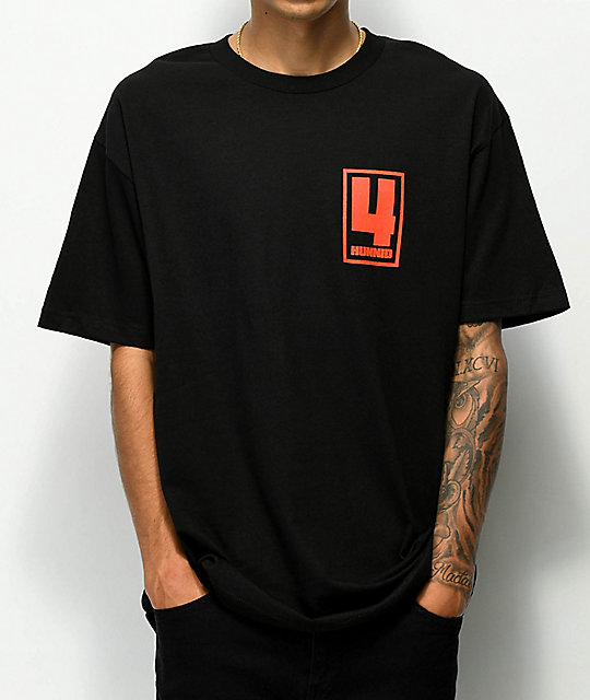 4Hunnid Square Logo Black T-Shirt