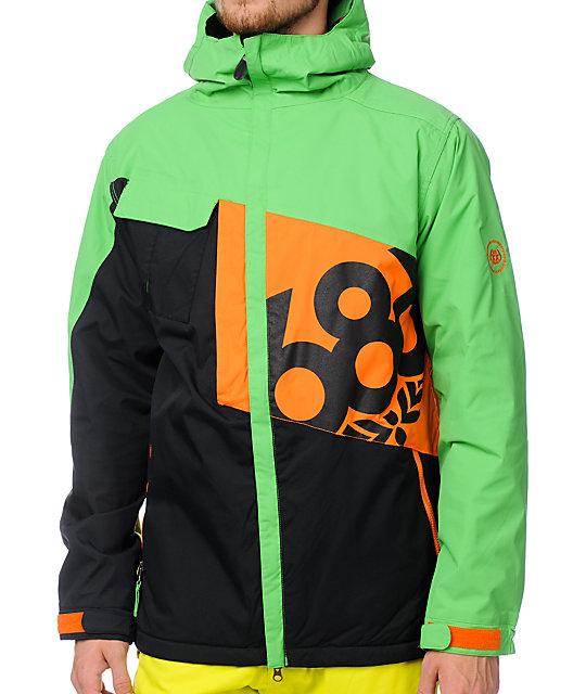 686 Iconic 8K Grass Green Orange Snowboard Jacket