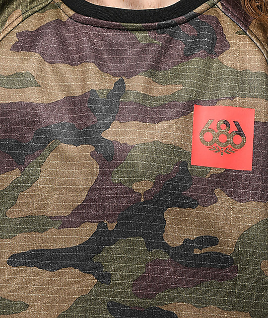 686 Knockout Dark Camo Tech Fleece Crew Neck