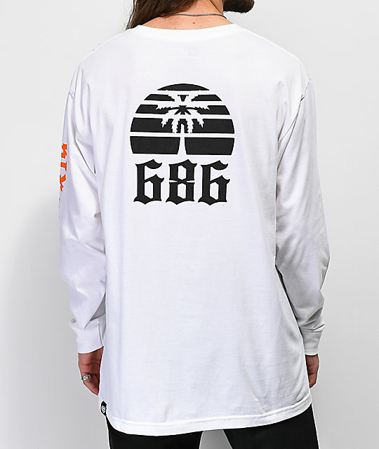686 Paradise White Long Sleeve T Shirt by 686