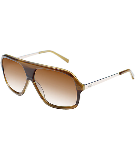9Five Crowns Stevie Williams Honey Woodgrain Sunglasses