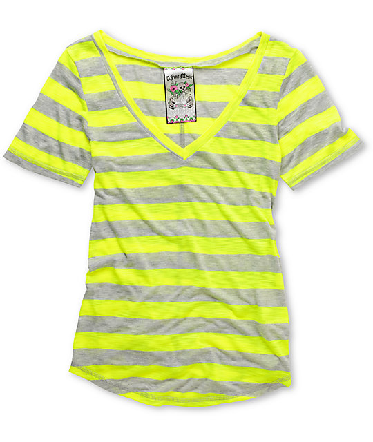A Fine Mess Daydreamer Neon Yellow Stripe V-Neck T-Shirt